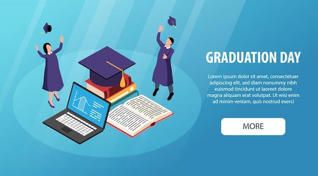 Banner horizontal de graduação isométrica com mais texto editável de botão e alunos acadêmicos com ilustração vetorial de livros abertos em laptop