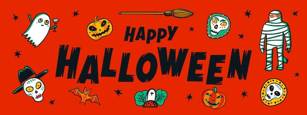 Banner horizontal de halloween com feliz texto manuscrito de halloween e monstros engraçados
