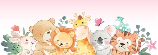 Banner horizontal de ilustração de amigos animais fofos