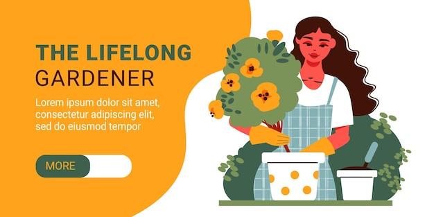 Banner horizontal de jardinagem com página inicial de personagem feminina
