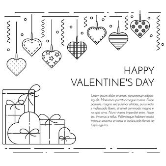 Banner horizontal de linha para dia dos namorados e tema de data.