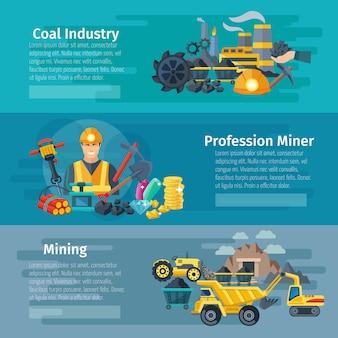 Banner horizontal de mineração definido com elementos planos de indústria de carvão