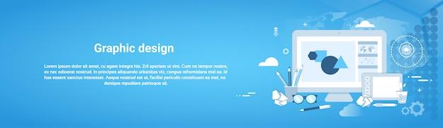 Banner horizontal de modelo de desenvolvimento web de design gráfico