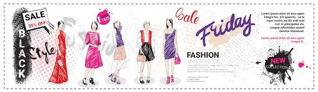 Banner horizontal de modelo de venda sexta-feira negra com modelos de moda mão desenhada