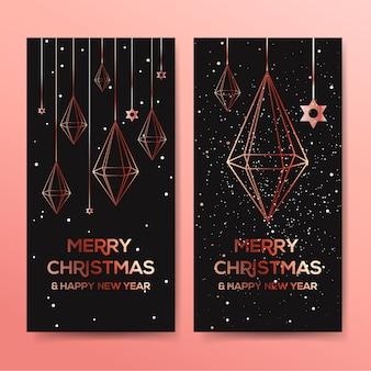 Banner horizontal de natal com decoração em cristal ouro rosa