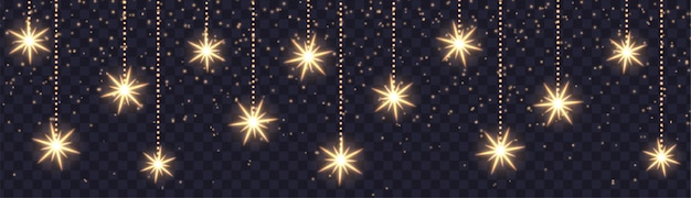 Banner horizontal de natal com flocos de neve brilhantes e brilhos. estrelas de suspensão isoladas. efeito de luz do vetor.