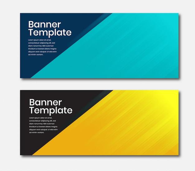 Banner horizontal de negócios na cor azul e amarela
