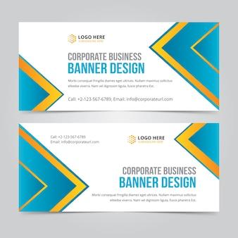Banner horizontal de negócios web definir modelos de vetor