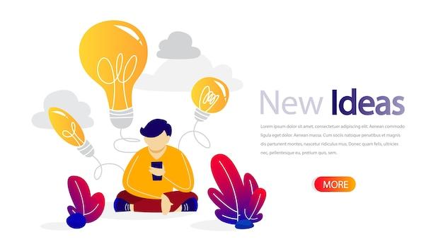 Banner horizontal de nova ideia para seu site. treinamento online para melhoria do negócio. educação e crescimento da qualidade, planejamento de projetos e formação de equipes. apartamento isolado