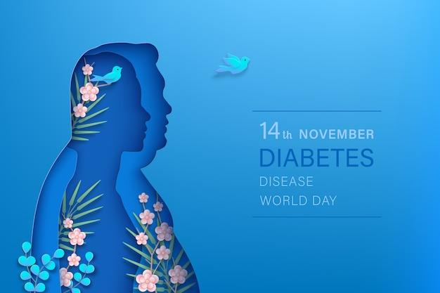 Banner horizontal de novembro do dia mundial do diabetes. mulher magra, homem gordo com silhuetas de corte de papel
