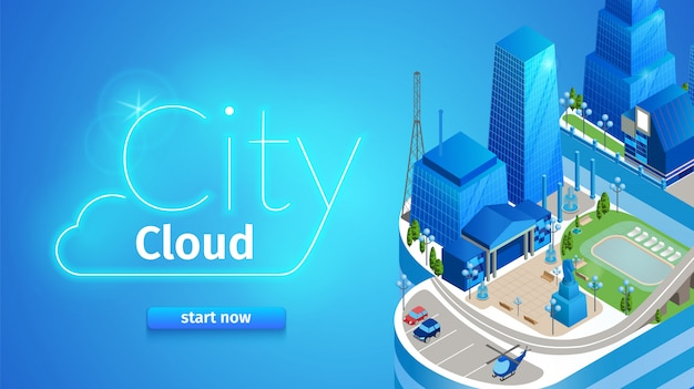 Banner horizontal de nuvem de cidade. cityscape futurista