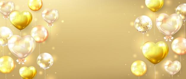 Banner horizontal de ouro decorado com balões dourados brilhantes