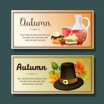 Banner horizontal de outono de snack de chapéu de xarope