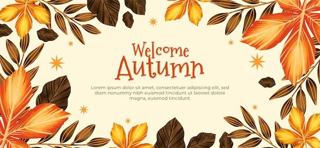 Banner horizontal de outono em aquarela