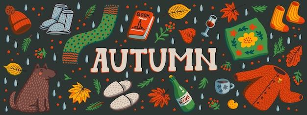 Banner horizontal de outono