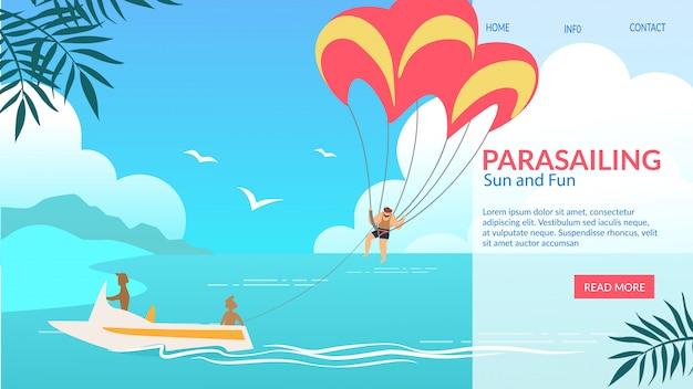 Banner horizontal de parasailing, asa de parasail com homem puxado por barco no oceano