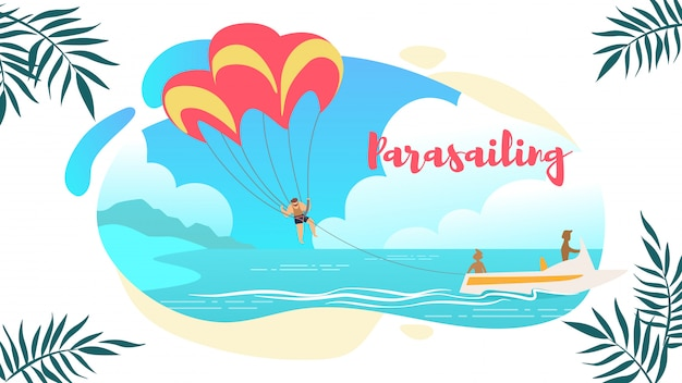 Banner horizontal de parasailing, homem sob o pára-quedas de suspensão mid air