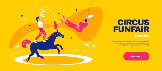 Banner horizontal de parque de diversões de circo com personagens equilibristas a cavalo