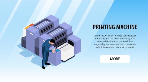 Banner horizontal de poligrafia para publicidade e mais informações sobre máquinas de impressão isométrica