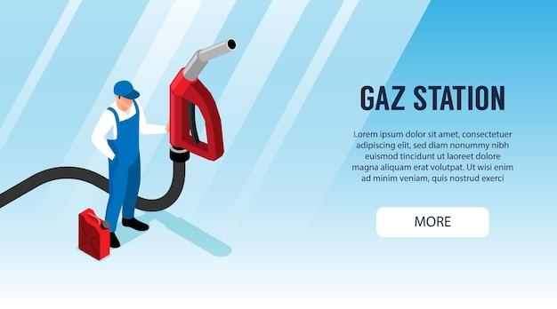 Banner horizontal de posto de gasolina com trabalhador de uniforme segurando uma grande pistola de abastecimento
