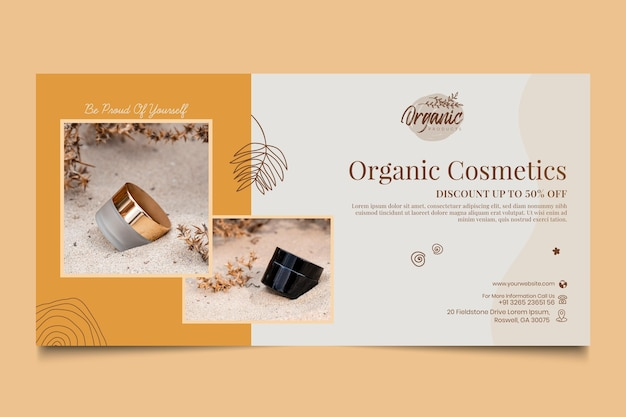 Banner horizontal de produtos cosméticos