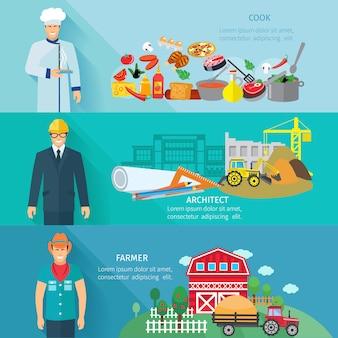 Banner horizontal de profissão conjunto com avatares de architector de fazendeiro de fogão