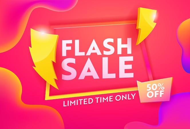 Banner horizontal de publicidade de venda rápida