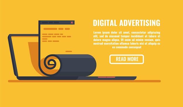 Banner horizontal de publicidade digital, laptop aberto com a página do site