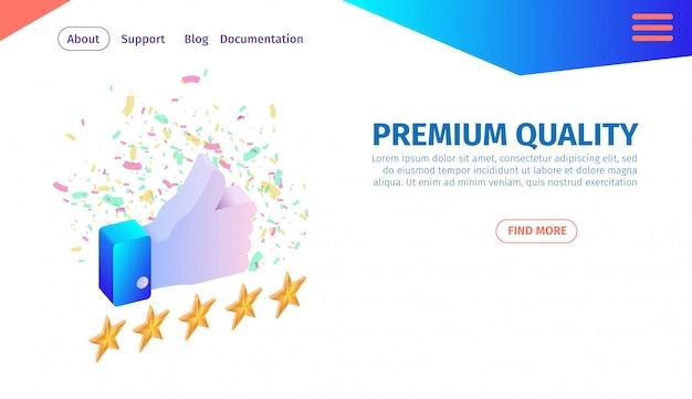 Banner horizontal de qualidade premium, thumb point up.