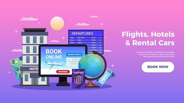 Banner horizontal de reserva de viagens com voos, hotéis e aluguel de carros