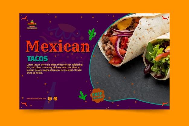 Banner horizontal de restaurante de comida mexicana