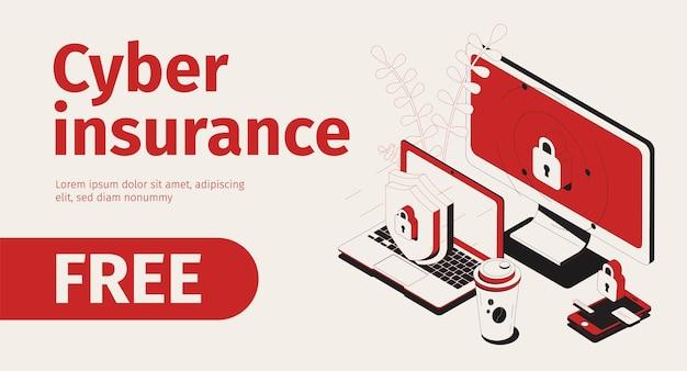 Banner horizontal de seguro cibernético