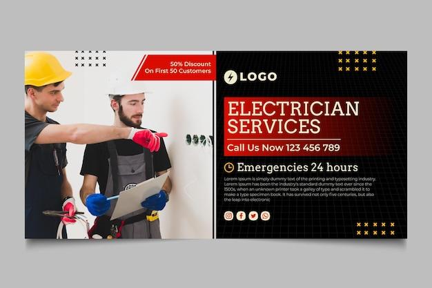Banner horizontal de serviço de eletricista