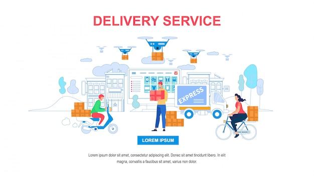 Banner horizontal de serviço de entrega com espaço de cópia