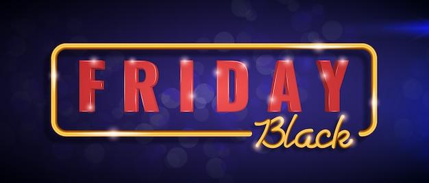 Banner horizontal de sexta-feira negra com moldura dourada, letras douradas e vermelhas de sexta-feira negra em azul.