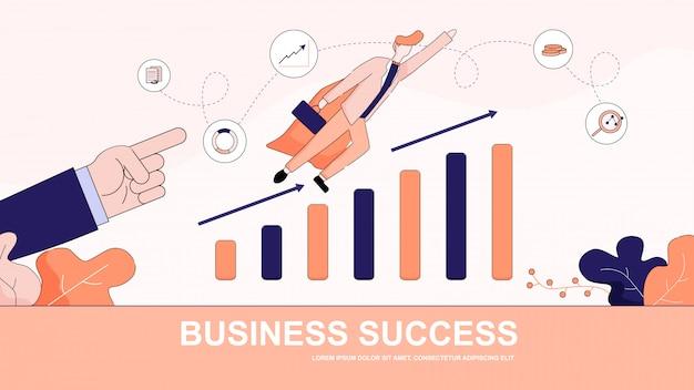 Banner horizontal de sucesso de negócios. homem do super-herói