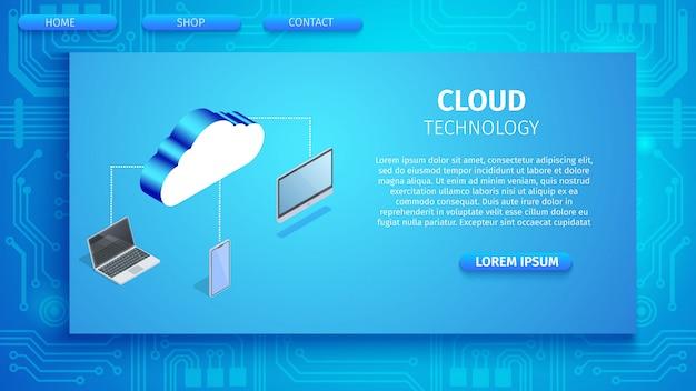 Banner horizontal de tecnologia de nuvem com espaço