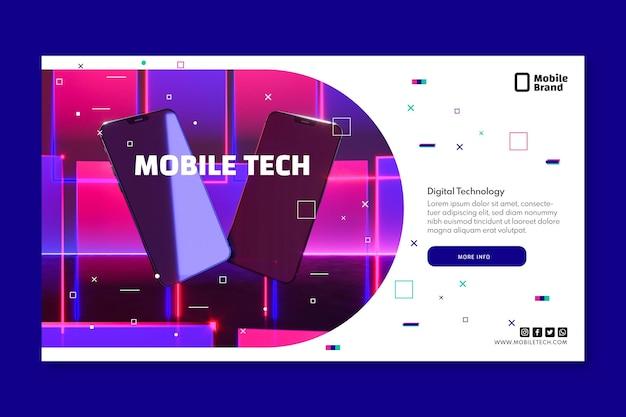 Banner horizontal de tecnologia móvel