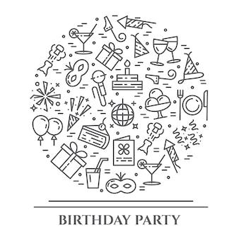 Banner horizontal de tema de festa de aniversário.