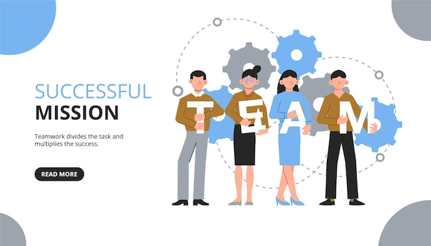 Banner horizontal de trabalho em equipe com texto de botão clicável e grupo de colegas de trabalho com letras e ícones de engrenagem