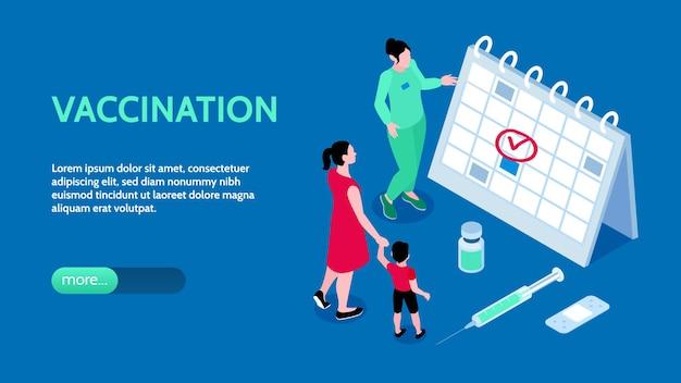 Banner horizontal de vacinação com pequenos personagens estudando o cronograma de imunização no grande bloco de notas ilustração isométrica