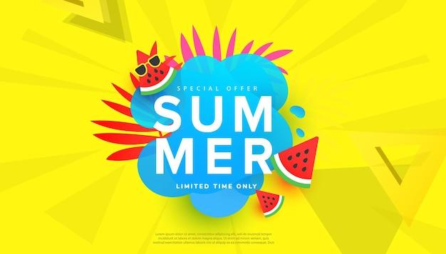 Banner horizontal de venda criativa de verão em cores brilhantes da moda com folhas tropicais, formas de bolhas e melancia
