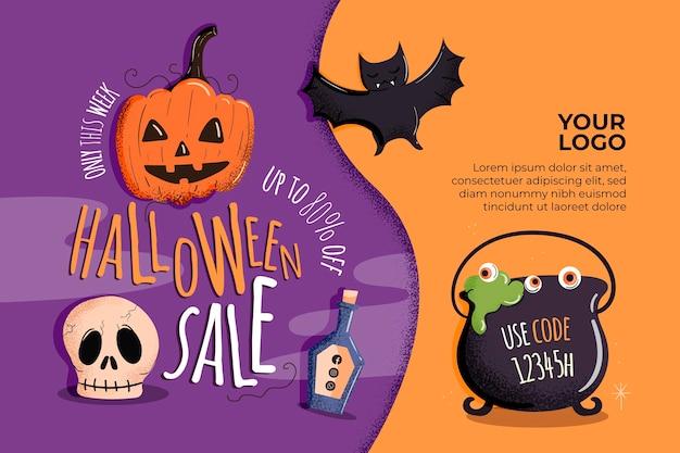 Banner horizontal de venda de halloween