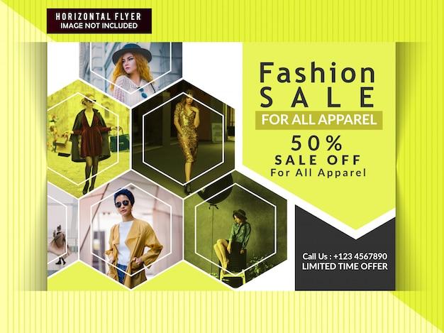 Banner horizontal de venda de moda