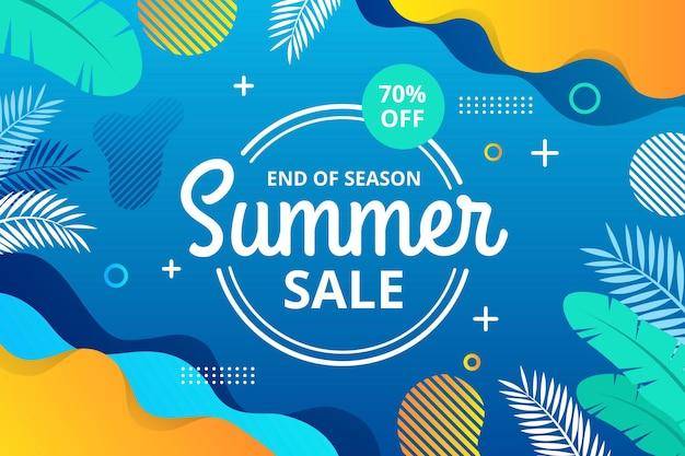 Banner horizontal de venda de verão no final da temporada