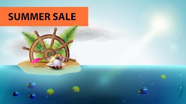 Banner horizontal de venda de verão