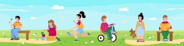 Banner horizontal de verão com ilustração em vetor plana para crianças do jardim de infância