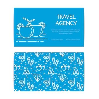 Banner horizontal de viagem com cocktails de praia