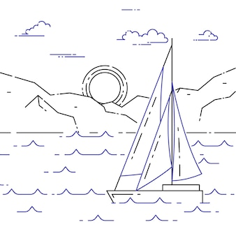 Banner horizontal de viagem com veleiro