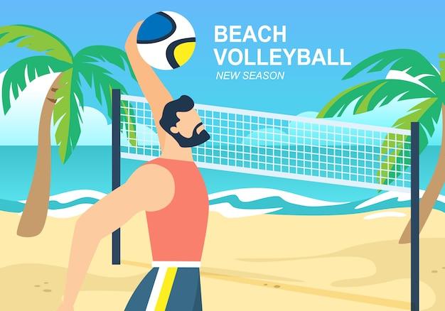 Banner horizontal de voleibol de praia, desportista